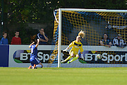 Chelsea Ladies defender Claire Rafferty puts the ball past Notts County Ladies goalkeeper Carly Telford to score during the FA Women's Super League match between Chelsea Ladies FC and Notts County Ladies FC at Staines Town FC, Staines, United Kingdom on 6 September 2015. Photo by Mark Davies.