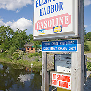 Sign for the Ellsworth Harbor marina. Union River. Ellsworth, Maine