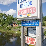 Sign for the Ellsworth Harbor marina. Union River. Ellsworth, Maine