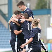 Ben Priest (left) is congratulated after opening the scoring  - Dundee v Hibs - Little Big Shot Scottish FA Youth Cup<br /> <br /> <br />  - &copy; David Young - www.davidyoungphoto.co.uk - email: davidyoungphoto@gmail.com