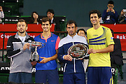 L-R) Pierre-Hugues Herbert (FRA) & Michal Przysiezny (POL), Ivan Dodig (CRO) & Marcelo Melo (BRA), <br /> OCTOBER 5, 2014 - Tennis : Rakuten Japan Open Tennis Championships 2014, <br /> the doubles Victory ceremony at Ariake Coliseum, Tokyo, Japan. <br /> (Photo by Yohei Osada/AFLO SPORT) [1156]
