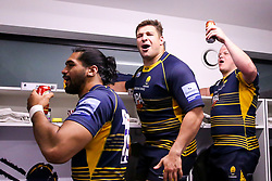 Gareth Milasinovich of Worcester Warriors celebrates after beating Gloucester Rugby and securing Premiership Rugby status - Mandatory by-line: Robbie Stephenson/JMP - 28/04/2019 - RUGBY - Sixways Stadium - Worcester, England - Worcester Warriors v Gloucester Rugby - Gallagher Premiership Rugby