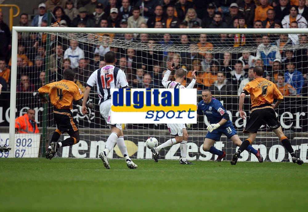 Photo: Rich Eaton.<br /> <br /> Wolverhampton Wanderers v West Bromwich Albion. Coca Cola Championship. Play off Semi Final, 1st Leg. 13/05/2007. Seyi Olofinjana #4 scores for Wolves to make it 2-1 to Wolves in the second half