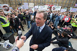 © licensed to London News Pictures. 14/05/2011. London, UK. MEP Nigel Farage talking at The Rally Against Debt held in Westminster. London today (14/05/2011). Organisers of the pro-cuts demonstration include the Taxpayers' Alliance group. Please see special instructions for usage rates. Photo credit should read Ben Cawthra/LNP