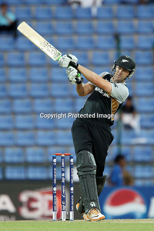 James Franklin hits out but is caught in the deep during the ICC World Twenty20 Pool match between New Zealand and Bangladesh held at the  Pallekele Stadium in Kandy, Sri Lanka on the 21st September 2012<br /> <br /> Photo byRon Gaunt/SPORTZPICS/PHOTOSPORT