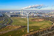 Nederland, Noord-Holland, Amsterdam, 11-12-2013; Westelijk Havengebied, Westpoort en  Westpoortweg. Rokende schoorstenen van AEB Afval Energie Bedrijf.<br /> Amsterdam western harbor area with smoking chimneys of AEB Waste and Energy Company (Waste Fired Power Plant).<br /> luchtfoto (toeslag op standaard tarieven);<br /> aerial photo (additional fee required);<br /> copyright foto/photo Siebe Swart.