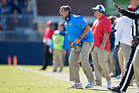 OXFORD, MS - OCTOBER 28:  Head Coach Matt Luke of the Ole Miss Rebels yells to his team during a game against the Arkansas Razorbacks at Hemingway Stadium on October 28, 2017 in Oxford, Mississippi.  The Razorbacks defeated the Rebels 38-37.  (Photo by Wesley Hitt/Getty Images) *** Local Caption *** Matt Luke
