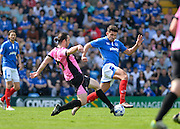 Portsmouth striker Gareth Evans skips past Northampton Town Midfielder John-Joe O'Toole during the Sky Bet League 2 match between Portsmouth and Northampton Town at Fratton Park, Portsmouth, England on 7 May 2016. Photo by Adam Rivers.