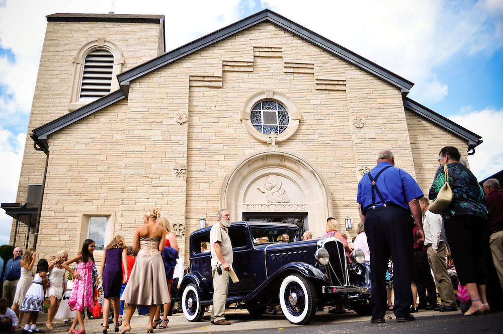Outside Matty & Abby's ceremony at St. Mary's Catholic Church, Richland Center, WI