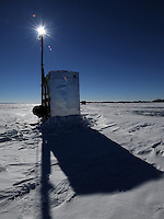 An ice fishing shanty sits on over 2 feet of ice on Lake Winnebago just North East of Wendt's on the Lake supper club. Wednesday, January 29, 2014. Patrick Flood/Action Reporter Media.