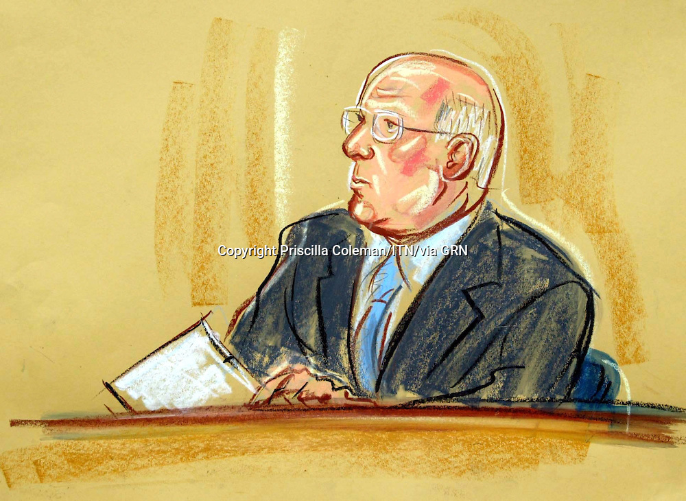 ©PRISCILLA COLEMAN (ITV) 02.09.03.ARTWORK SHOWS: DC PETER COE AT THE HIGH COURT TODAY, WHERE HE APPEARED AS A WITNESS IN THE HUTTON INQUIRY INTO THE DEATH OF DR DAVID KELLY..ARTWORK BY: PRISCILLA COLEMAN (ITV)