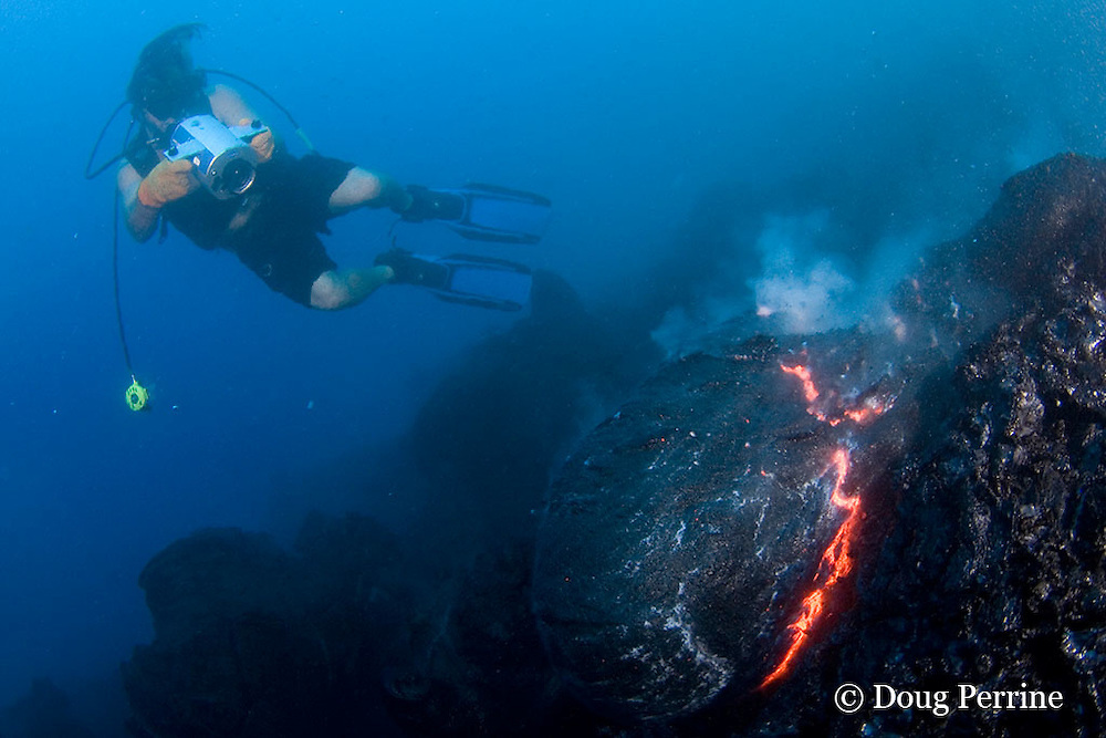 "videographer Shane Turpin, films pillow lava at underwater eruption of Kilauea Volcano, Hawaii Island ("" the Big Island ""), Hawaii, U.S.A. ( Central Pacific Ocean ) <br /> MR 382"