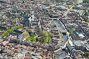 Nederland, Zuid-Holland, Leiden, 09-04-2014; binnenstad met Nieuwe Rijn, Vismarkt en Botermarkt (met marktkramen).  De Burcht en Hooglandse Kerk<br /> Old town of the city of Leiden with old castle de Burcht , church and the river New Rhine.<br /> luchtfoto (toeslag op standard tarieven);<br /> aerial photo (additional fee required);<br /> copyright foto/photo Siebe Swart.