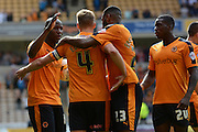 Dave Edwards celebrates equaliser during the Sky Bet Championship match between Wolverhampton Wanderers and Charlton Athletic at Molineux, Wolverhampton, England on 29 August 2015. Photo by Alan Franklin.