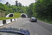 the modern highway to the Batumi Botanical Garden 9 km north of the city of Batumi, capital of Autonomous Republic of Adjara, Georgia.
