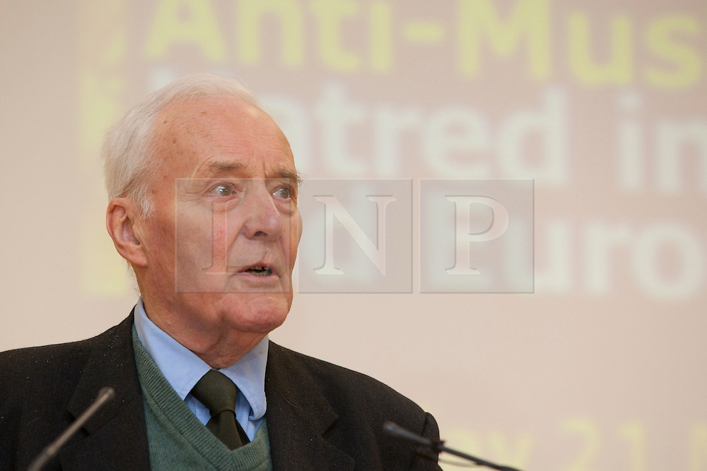 "© Under licence to London News Pictures. 14/03/14 Tony Benn has died aged 88. FILE PICTURE:  21/05/2011. Tony Benn speaking at conference ""Confronting Anti-Muslim Hatred in Britain and Europe"". London Muslim Centre. Photo credit should read BETTINA STRENSKE/LNP"