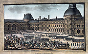 Grand parade of French troops in front of First Consul Bonaparte in the courtyard of the Tuilleries Palace, 19 February 1800. Coloured engraving.