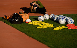 A photographer taking pictures of Balls at practice a day before the last 2010 FIFA Qualifications match between San Marino and Slovenia, on October 13, 2009, in Olimpico Stadium, Serravalle, San Marino.  (Photo by Vid Ponikvar / Sportida)