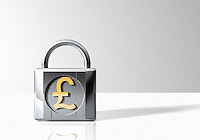 Padlock with British pound symbol