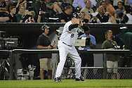 CHICAGO - JUNE 06:  Third base coach Jeff Cox #8 of the Chicago White Sox yells instructions to a base runner during the game against the Seattle Mariners on June 6, 2011 at U.S. Cellular Field in Chicago, Illinois.  The White Sox defeated the Mariners 3-1.  (Photo by Ron Vesely)  Subject:  Jeff Cox.