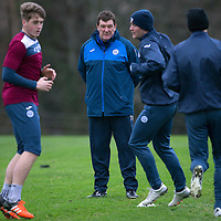 St Johnstone Training…18.12.15<br />Manager Tommy Wright watches training this morning at McDiarmid Park ahead of tomorrow's game against Hearts<br />Picture by Graeme Hart.<br />Copyright Perthshire Picture Agency<br />Tel: 01738 623350  Mobile: 07990 594431