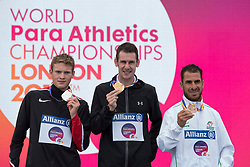 23/07/2017 : Michael McKillop (IRL), Gold Medal, Liam Stanley (CAN), Silver Medal, Madjid Djemai (ALG) Bronze Medal, T37, Men's 1500m, at the 2017 World Para Athletics Championships, Olympic Stadium, London, United Kingdom