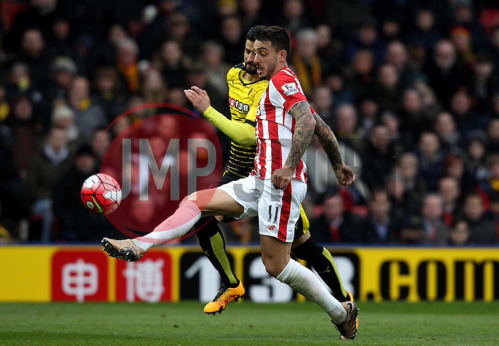 Joselu of Stoke City scores a goal from distance - Mandatory byline: Robbie Stephenson/JMP - 19/03/2016 - FOOTBALL - Vicarage Road - Watford, England - Crystal Palace v Leicester City - Barclays Premier League