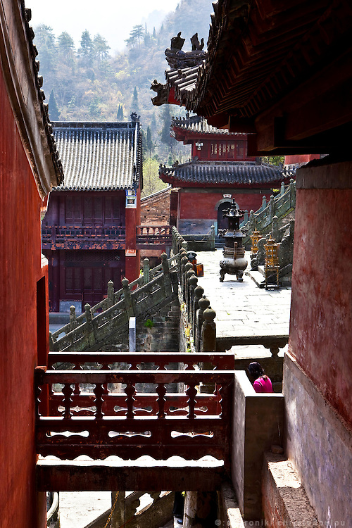 Asia, China, Hubei province.  Purple Heaven Palace taoist temple on Wudang moutain (Wudang-san), a World Heritage mountain with many Taoist monasteries.