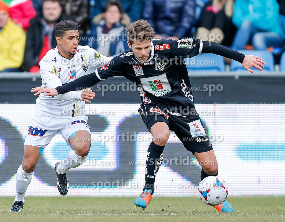 28.02.2015, Cashpoint Arena, Altach, AUT, 1. FBL, SCR Altach vs RZ Pellets WAC, 22. Runde, im Bild Zweikampf zwischen Ismael Tajouri, (SCR Altach, #17) und Boris Huettenbrenner, (RZ Pellets WAC, #16)// during Austrian Football Bundesliga Match, 22th round, between SCR Altach vs RZ Pellets WAC at the Cashpoint Arena, Altach, Austria on 2015/02/28. EXPA Pictures © 2015, PhotoCredit: EXPA/ Peter Rinderer