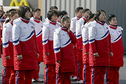 February 8, 2018 - Gangneung, Gangwon, South Korea - North Korean Olympic Team members and Cheer group members perform during an welcome ceremony at Olympic Village. (Credit Image: © Gmc via ZUMA Wire)