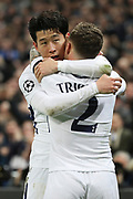 Son Heung-Min of Tottenham Hotspur (7) hugging Kieran Trippier of Tottenham Hotspur (2) after scoring goal to make it 1-0 during the Champions League match between Tottenham Hotspur and Juventus FC at Wembley Stadium, London, England on 7 March 2018. Picture by Matthew Redman.