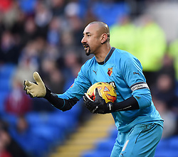 Watford's goalkeeper and captain Heurelho Gomes - Photo mandatory by-line: Paul Knight/JMP - Mobile: 07966 386802 - 28/12/2014 - SPORT - Football - Cardiff - Cardiff City Stadium - Cardiff City v Watford - Sky Bet Championship