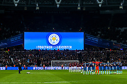 A minutes silence is held in tribute to Leicester City after the Helicopter Crash which killed Chairman Vichai Srivaddhanaprabha - Mandatory by-line: Robbie Stephenson/JMP - 31/10/2018 - FOOTBALL - London Stadium - London, England - West Ham United v Tottenham Hotspur - Carabao Cup