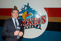 KELOWNA, CANADA - JANUARY 16: Sportsnet broadcaster Rob Faulds stands outside the dressing room at the Kelowna Rockets against the Seattle Thunderbirds on January 16, 2015 at Prospera Place in Kelowna, British Columbia, Canada.  (Photo by Marissa Baecker/Shoot the Breeze)  *** Local Caption *** Rob Faulds;