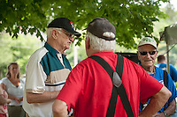 Duffy Dodge, Armando Bona and Don Mullally chat following the 70th Anniversary celebration of the Kiwanis Pool in St. Johnsbury Vermont.  Karen Bobotas / for Kiwanis International