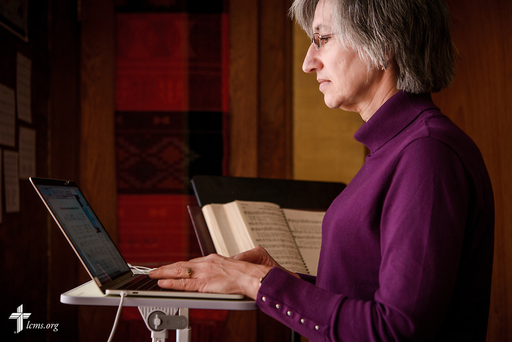 Church musician and Deaconess Sandra Rhein works at her home on Friday, Feb. 2, 2018, in South Bend, Ind. LCMS Communications/Erik M. Lunsford