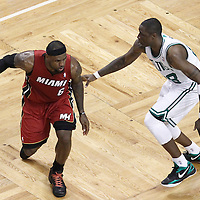 07 June 2012: Boston Celtics small forward Mickael Pietrus (28) defends on Miami Heat small forward LeBron James (6) during the Miami Heat 98-79 victory over the Boston Celtics, in Game 6 of the Eastern Conference Finals playoff series, at the TD Banknorth Garden, Boston, Massachusetts, USA.