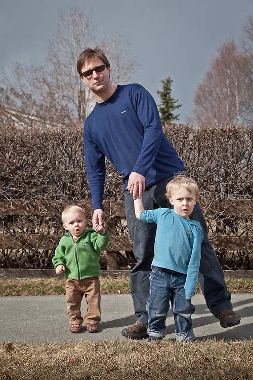 Phil Schneider and sons Otto (age 1) and Max (age 3), South Addition, Anchorage