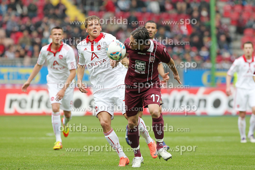 14.04.2012, Fritz Walter Stadion, Kaiserslautern, GER, 1.FC Kaiserslautern vs 1. FC Nuernberg, 31. Spieltag, im Bild Alexander BUGERA (1.FC Kaiserslautern) im Zweikampf mit Mike FRANTZ (1.FC Nuernberg), Aktion/ Action // during the German Bundesliga Match, 31th Round between 1.FC Kaiserslautern and 1. FC Nuernberg at the Fritz Walter Stadium, Kaiserslautern, Germany on 2012/04/14. EXPA Pictures © 2012, PhotoCredit: EXPA/ Eibner/ Alexander Neis..***** ATTENTION - OUT OF GER *****