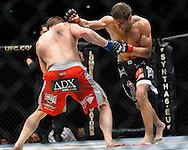 """COLOGNE, GERMANY, JUNE 13, 2009: John Hathaway and Rick Story during """"UFC 99: The Comeback"""" inside LanXess Arena, Cologne"""