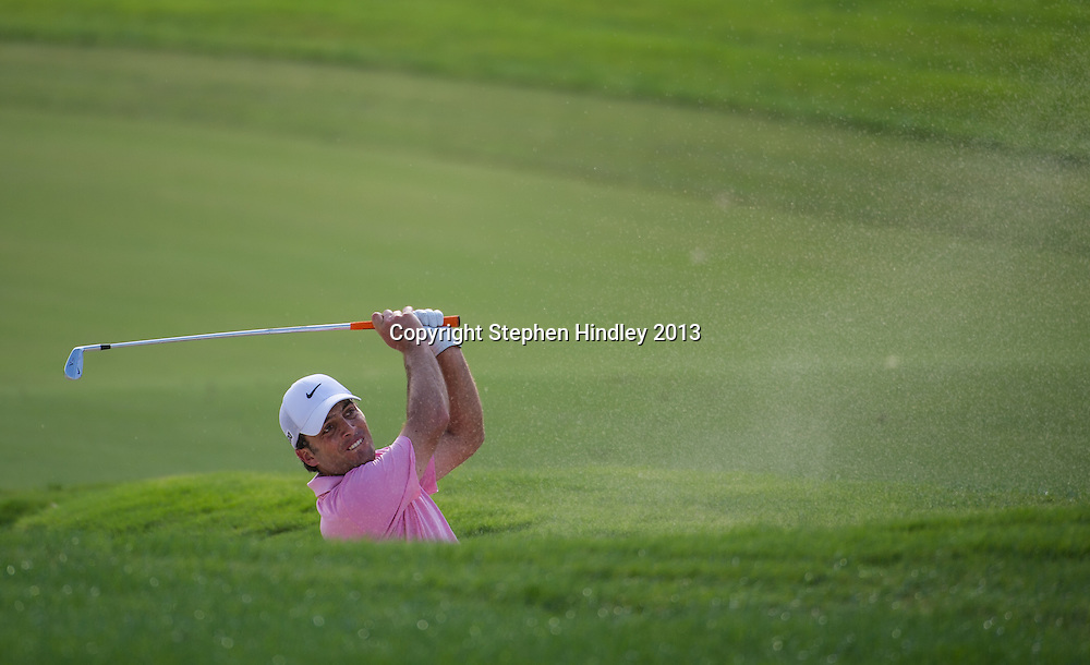 Francesco Molinari of Italy from the bunker on the 15th fairway during the second round of the DP World Tour Championship held at the Jumeirah Golf Estates in Dubai, United Arab Emirates, on Friday, November 15, 2013.  Photo by: Stephen Hindley/SPORTDXB