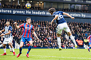 West Bromwich Albion (26) Ahmed Hejazi, Crystal Palace #34 Martin Kelly during the Premier League match between West Bromwich Albion and Crystal Palace at The Hawthorns, West Bromwich, England on 2 December 2017. Photo by Sebastian Frej.