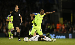 Cameron Jerome of Derby County is fouled by Stefan Johansen of Fulham - Mandatory by-line: Paul Terry/JMP - 14/05/2018 - FOOTBALL - Craven Cottage - Fulham, England - Fulham v Derby County - Sky Bet Championship Play-off Semi-Final