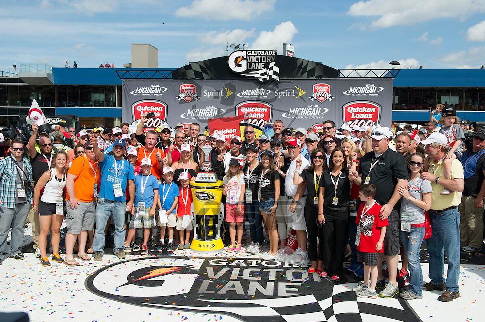 Brooklyn, MI - JUN 16, 2013: Greg Biffle (16) wins the Quicken Loans 400 at the Michigan International Speedway in Brooklyn, MI.