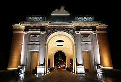 The Menin Gate in Ypres, Belgium, Sunday, 10th November 2013 , where the Duke of Edinburgh will attend a Last Post ceremony  to mark the gathering of soil from Flanders Fields for a memorial garden at the Guards Museum in London, on Armistice Day tomorrow (Monday 11th November)  Picture by Stephen Lock / i-Images