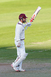 James Hildreth of Somerset raises his bat after making a century in the first innings - Mandatory byline: Rogan Thomson/JMP - 07966 386802 - 22/09/2015 - CRICKET - The County Ground - Taunton, England - Somerset v Warwickshire - Day 1 - LV= County Championship Division One.