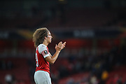 Arsenal midfielder Matteo Guendouzi (29) applauds the home fans after the Europa League group stage match between Arsenal and FC Voskla Potlava at the Emirates Stadium, London, England on 20 September 2018.