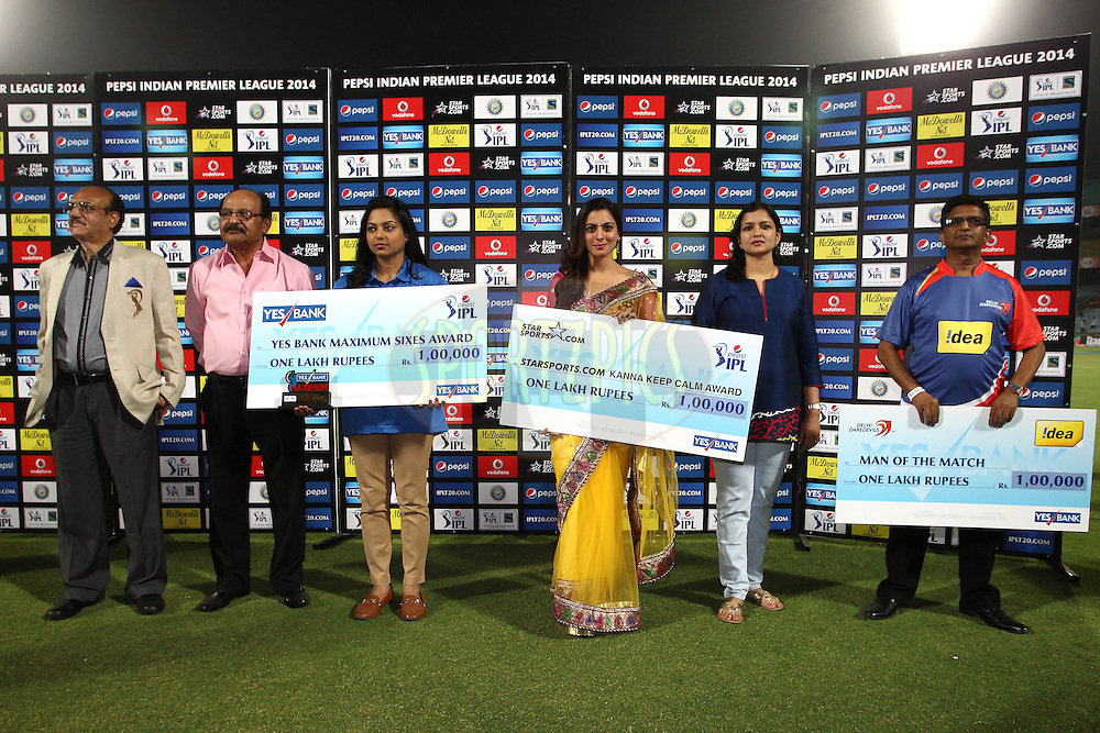 Presentation party for the post match presentation during match 23 of the Pepsi Indian Premier League Season 2014 between the Delhi Daredevils and the Rajasthan Royals held at the Feroze Shah Kotla cricket stadium, Delhi, India on the 3rd May  2014<br /> <br /> Photo by Shaun Roy / IPL / SPORTZPICS<br /> <br /> <br /> <br /> Image use subject to terms and conditions which can be found here:  http://sportzpics.photoshelter.com/gallery/Pepsi-IPL-Image-terms-and-conditions/G00004VW1IVJ.gB0/C0000TScjhBM6ikg