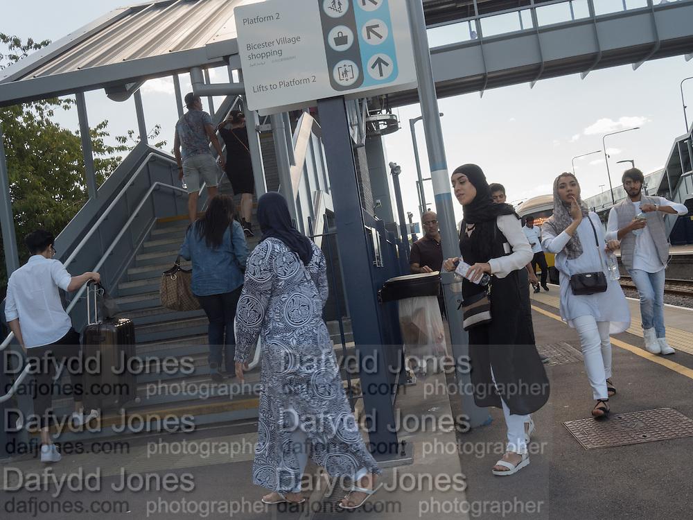 Arriving Bicester village station, Shoppers, Bicester Village. 26 August 2016