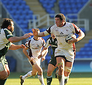 Reading, GREAT BRITAIN, Tigers Lock,  James HAMILTON,  attacking puts right arm out,  to hold of Faan RAUTENBACH's tackle, during the Guinness Premiership match, London Irish vs Leicester Tigers, played at the Madejski Stadium, on Sun. 17th Feb 2008.  [Mandatory Credit, Peter Spurrier/Intersport-images].....Watford, GREAT BRITAIN, during the Pool 4 Rd 5  Heineken Cup game Saracens vs Biarittz at Vicarage Road, Hert's  26/04/2007  [Photo, Peter Spurrier/Intersport-images].....
